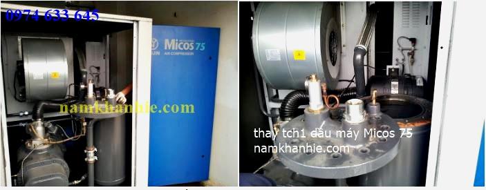 Thay lọc tách dầu máy nén khí Micos 75