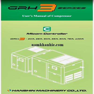 Sách hướng dẫn sử dụng và cài đặt máy nén khí Hanshin GRH3 series.