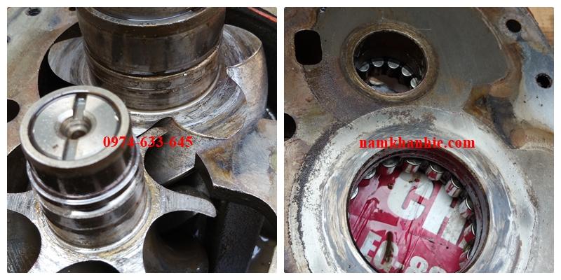 stator và rotor của dầu nén bị mài mòn do hỏng vòng bi
